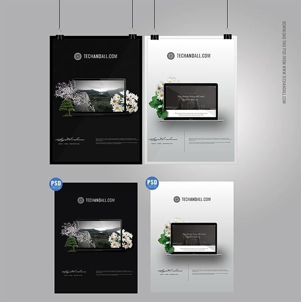 Download Poster Mockup PSD Terbaru Gratis - A4 Poster MockUp & Frame MockUp PSD
