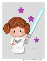 silueta de madera infantil princesa Leia Star Wars babydelicatessen