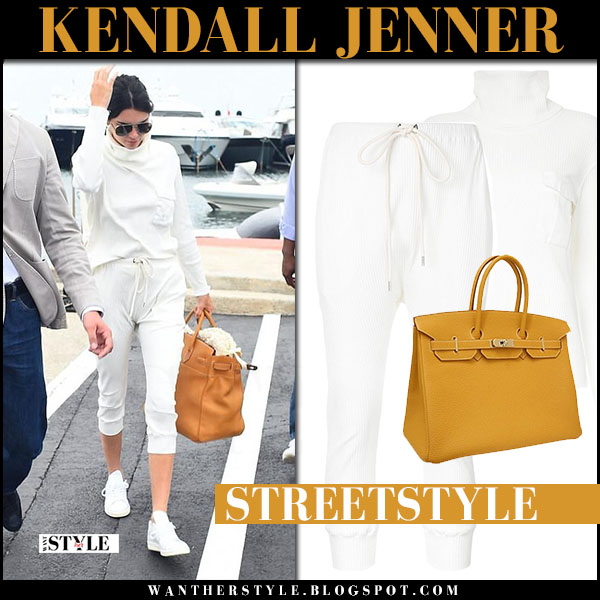 Kendall Jenner in white funnel neck top and cropped sweats bassike what she wore may 26 2017 cannes