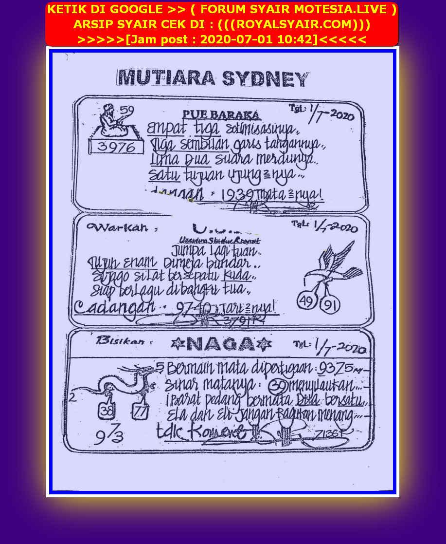 Kode syair Sydney Rabu 1 Juli 2020 37