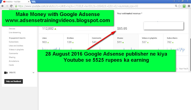28 August 2016 ko Mere Google adsense publisher ne kiya youtube se 5525 rupees ka earning-see screenshot