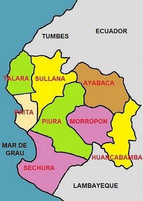 Dibujo del mapa político de Piura (Perú)
