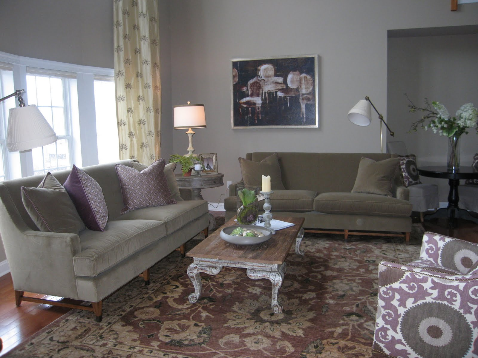 Soft Grey Taupe Stains Grounded The Whole Design Two Matching Sofas Now Told Correct And Interesting Story Married With Graphic Print Chair Of