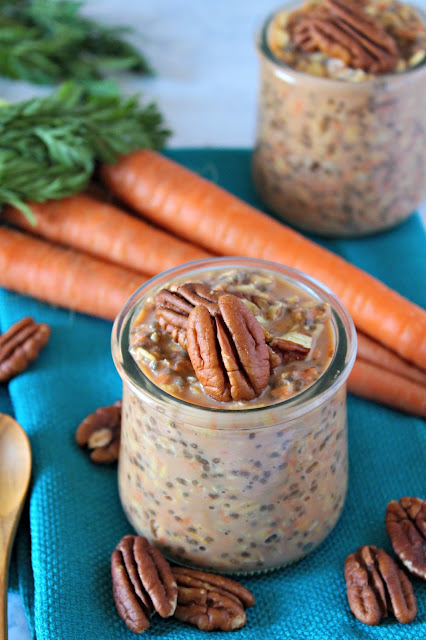 Carrot Cake Overnight Chia Oatmeal from LoveandConfections.com #BrunchWeek