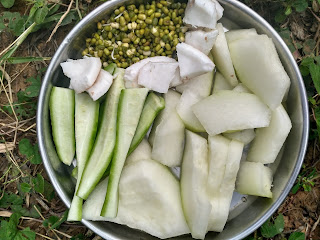 Ash gourd, Ridge gourd, Green gram sprouts, Coconut