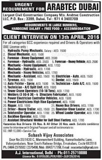 Job vacancies in Arabtec Construction LLC Dubai
