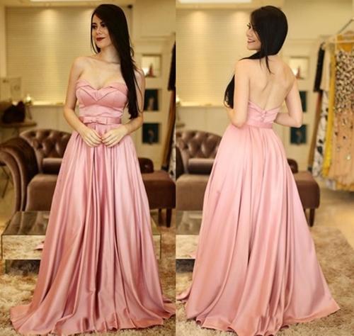 vestido de festa rose saia ampla