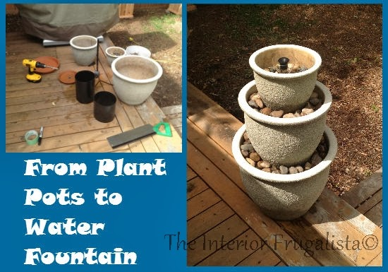 Water fountain made from a trio of plant pots