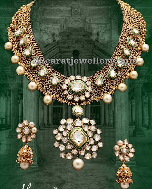 Mesh Work Polki Necklace with jhumkas