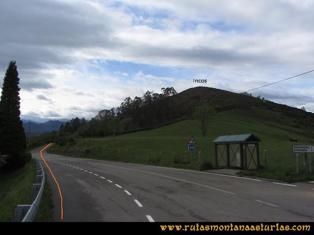 Ruta Torazo, Pico Incos: Desviación a la salida de Incós