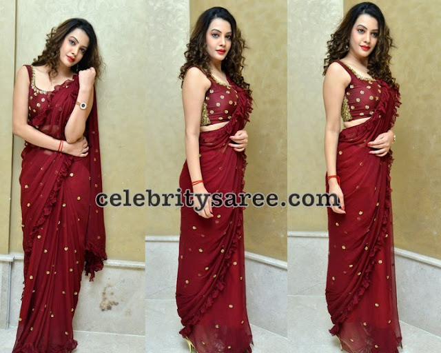 Diksha Panth Maroon Georgette Saree