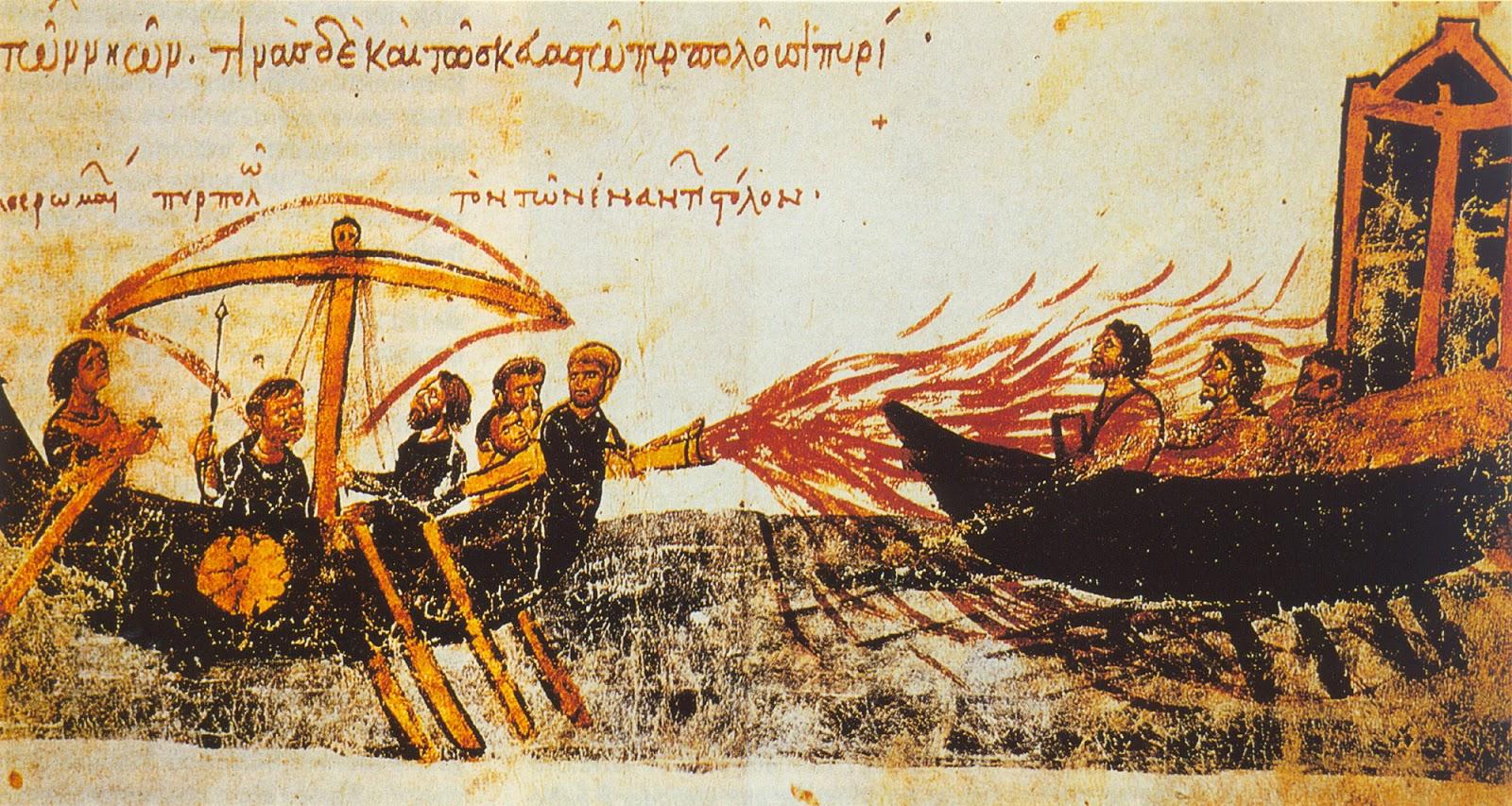 Segundo várias fontes, o fogo grego foi inventado no século VII e ajudou os bizantinos a combater os primeiros ataques muçulmanos.