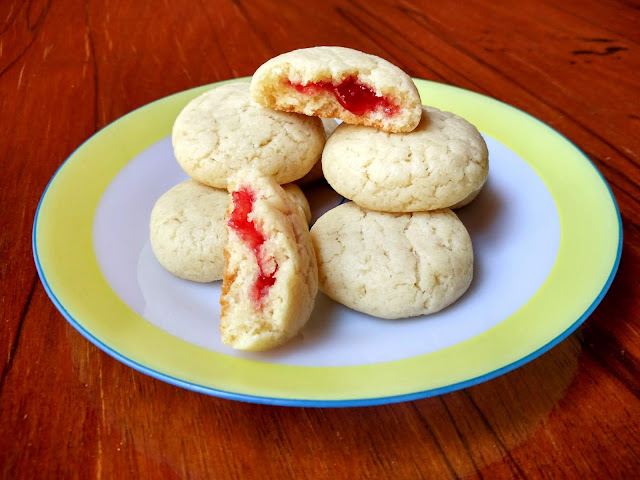 Eggless Strawberry Jam filled Cookies