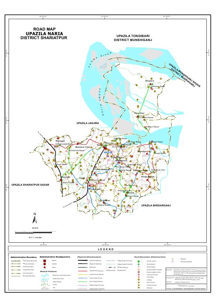 Naria Upazila Road Map Shariatpur District Bangladesh