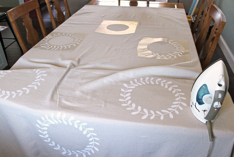 Make a custom tablecloth for Thanksgiving with iron-on craft vinyl