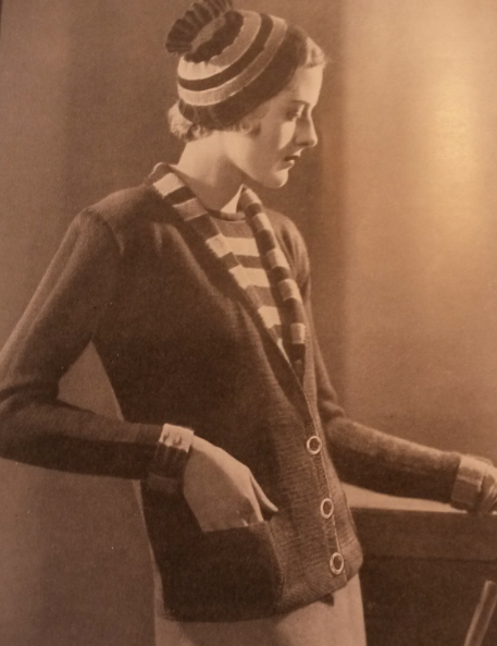 The Vintage Pattern Files: Free 1930's Knitting Pattern - A Coat Jumper and Hat Ensemble