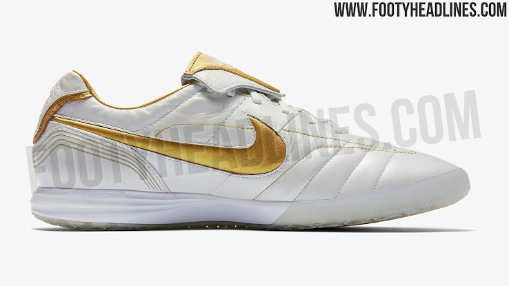 aed3d4d99 White / Gold Nike Legend R10 Ronaldinho 2018 Boots Released - Footy ...