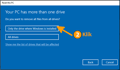 Cara reset Windows 10 pilihan remove drive