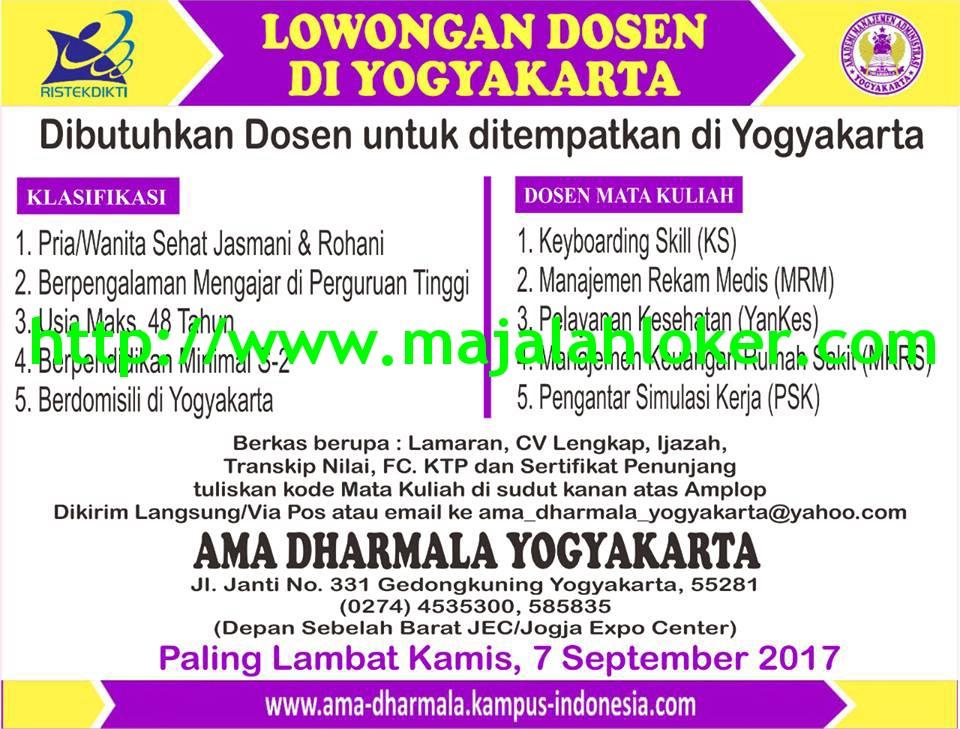 Lowongan Dosen Manajemen Keuangan Rumah Sakit AMA Dharmala  Yogyakarta