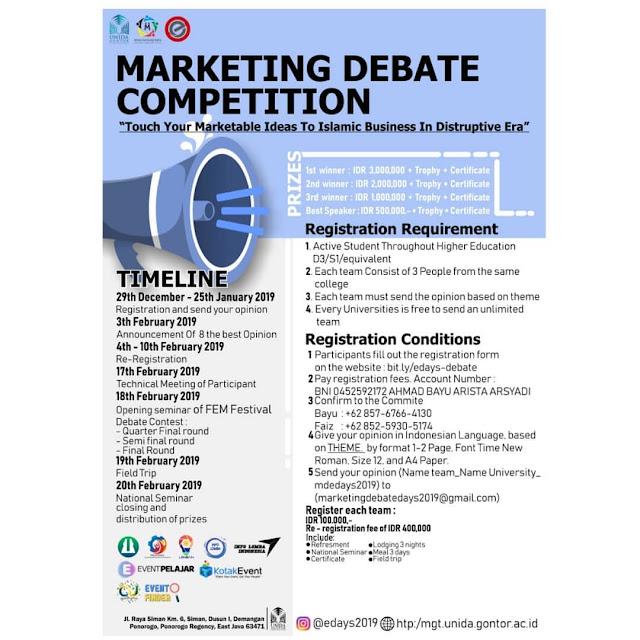 Kompetisi Marketing Debat Internasional 2019 Mahasiswa