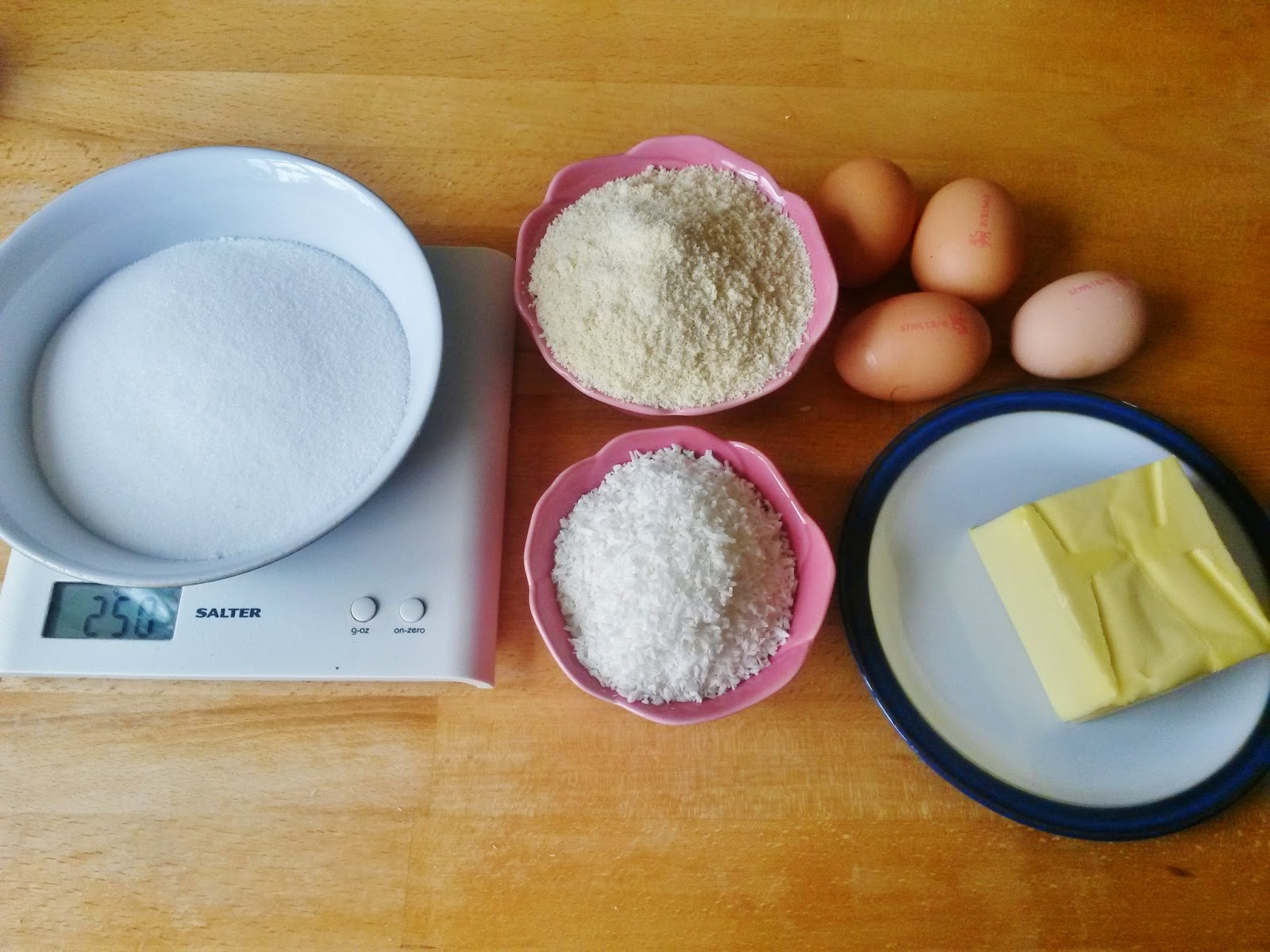 Ingredients for flourless gluten free almond and coconut cake