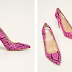 Guess Jeans - Pantofi cu toc inalt subtire roz snake print originali pret mic