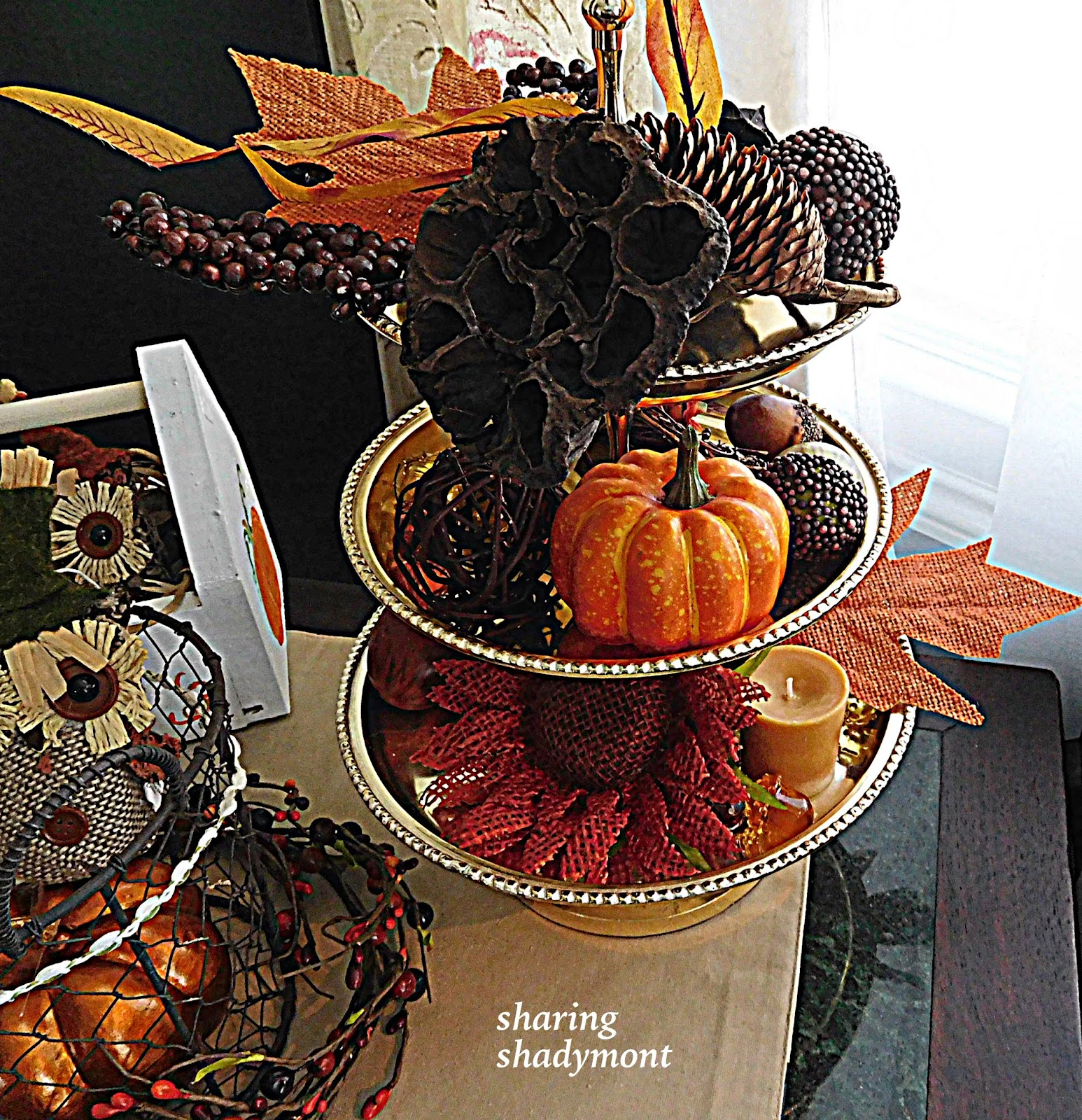 Sharing shadymont fall decor for a three tiered tray for 3 tier pumpkin decoration