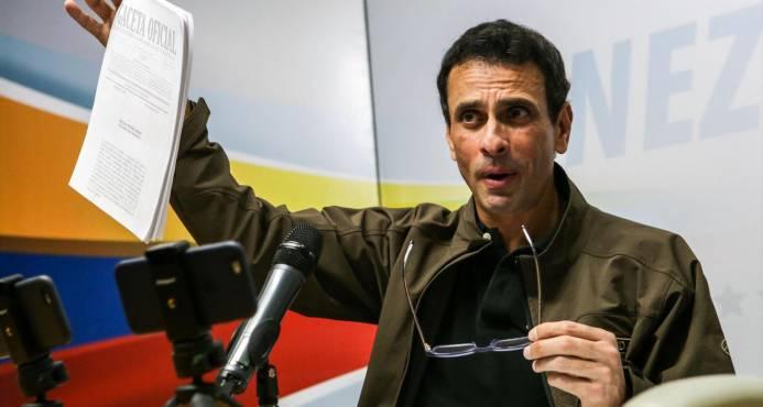 """Partido del opositor Capriles no participará en presidenciales """"fraudulentas"""""""