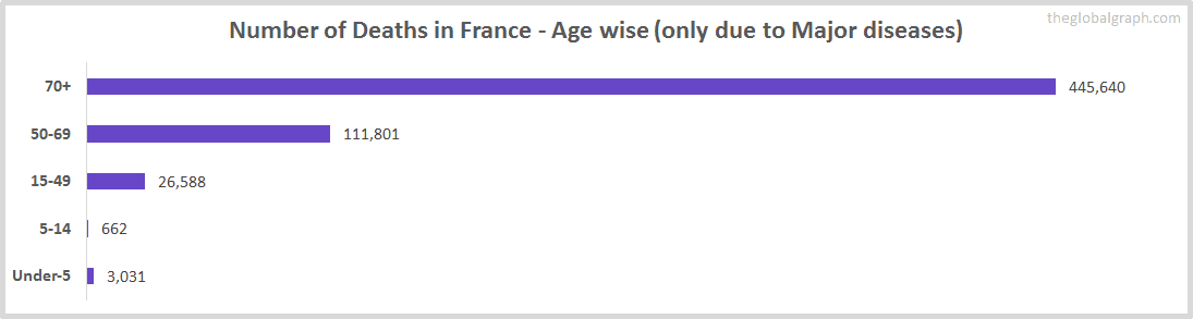 Number of Deaths in France - Age wise (only due to Major diseases)