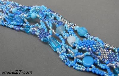 браслет бисер фриформ бохо голубой украина