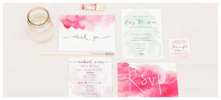 Painted Wedding Invitations: Intricate Hand-Painted Watercolour Wedding Stationery