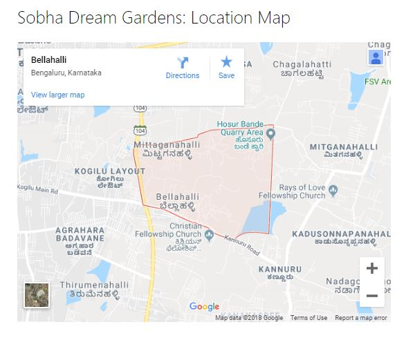 Sobha Dream Gardens Location