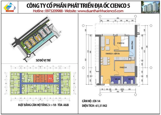 Mặt bằng căn hộ CH14 tầng 3-18 tòa HH02A&B