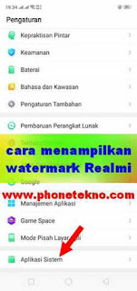 Cara menampilkan watermark / tanda air Realme 2