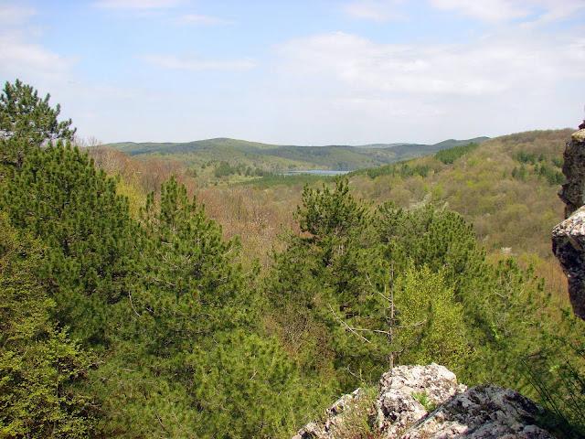 Вид с вершины скалы в сторону Счастливенского водохранилища