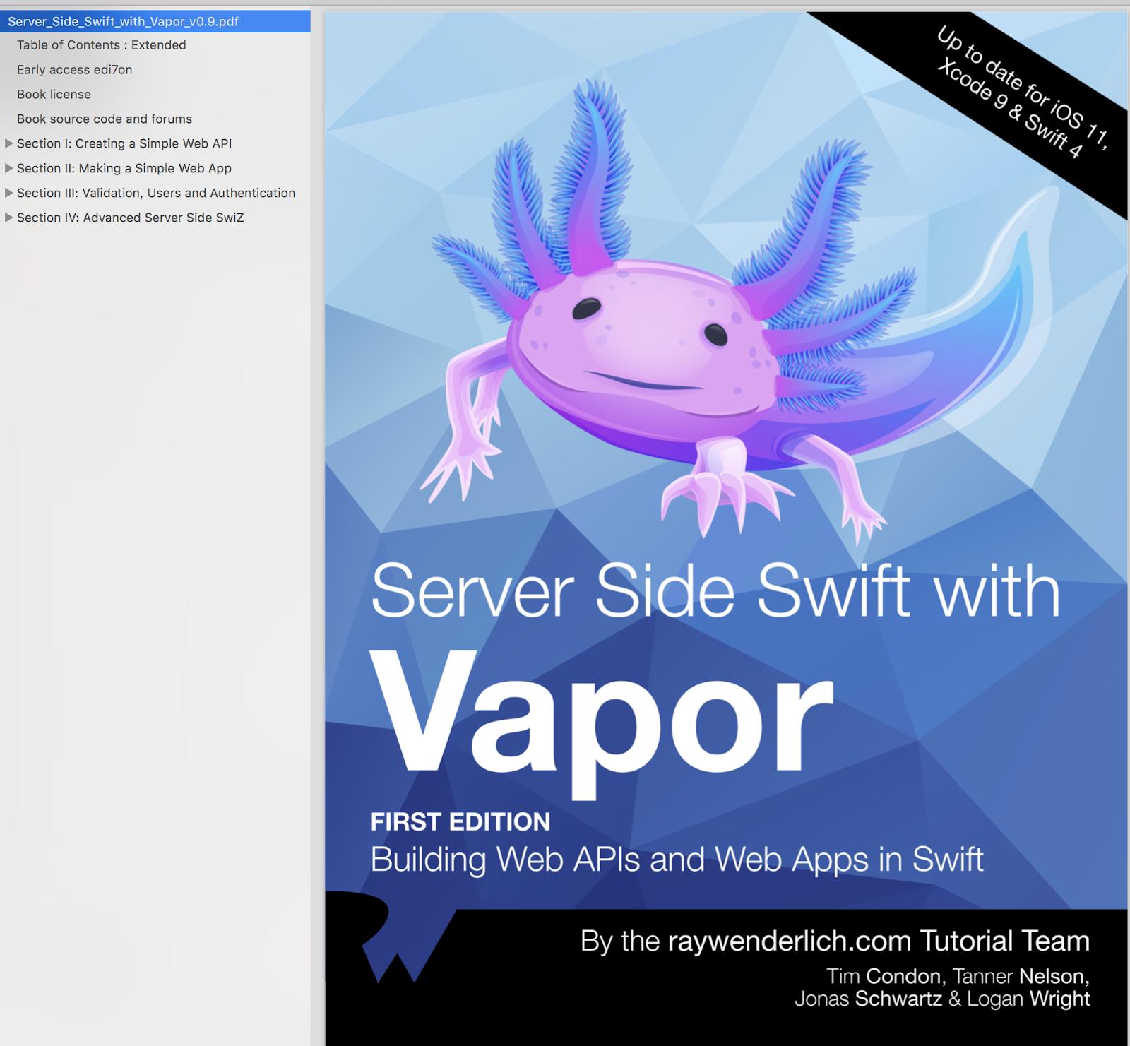 Server Side Swift with Vapor Ray Wenderlich Books PDF, EPUB
