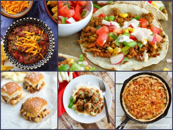 5 delicious Ground Beef recipes featured on Walking on Sunshine Recipes