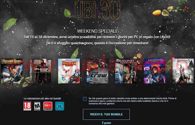 Promozione UBI 30 di Ubisoft scaricare 7 giochi gratis per PC