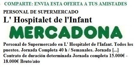 L'Hospitalet De L'Infant, Tarragona. Lanzadera de Empleo Virtual. Oferta Mercadona