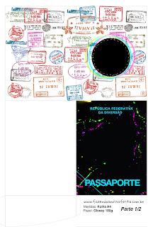 Imprimible con forma de Pasaporte de Fiesta Neón