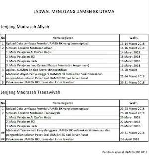 Jadwal Penting Menjelang UAMBN BK Utama 2018