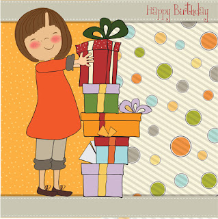 Clipart Image of a Little Girls With a Stack of Presents