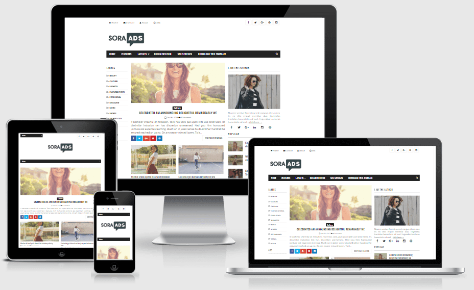 Sora Ads - Responsive AD Optimized Blogger Template