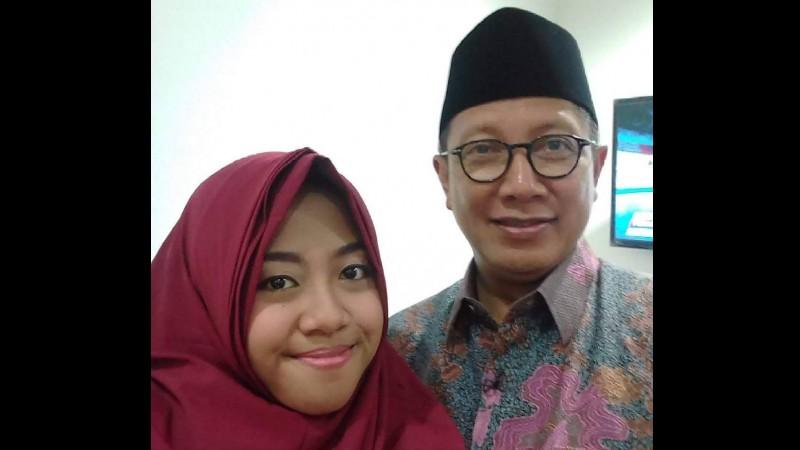 Afi Nihaya bersama Menag Lukman Hakim Saifuddin