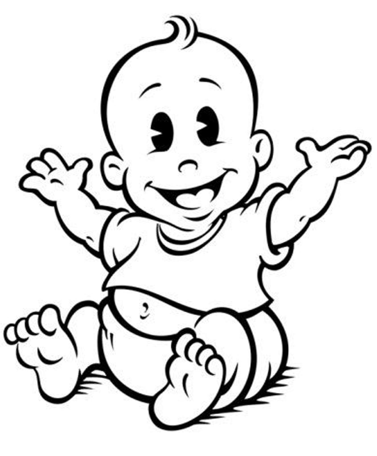 free baby clipart black and white
