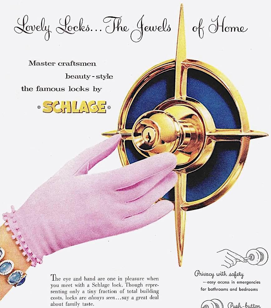 a 1959 Schlage doorlocks color photograph advertisement, with brass starburst hardware