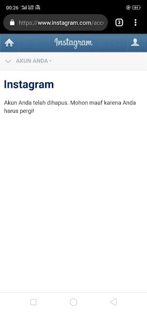 Akun Instagram Berhasil Terhapus
