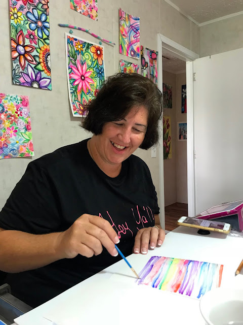 Alice Hendon, Watercolor Wonder with Artist Robin Mead - Robin at work