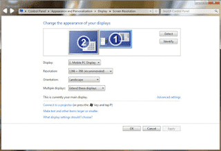 Contoh cara Pengaturan Dual Monitor di PC Windows 7 beserta gambar