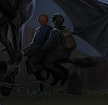Arthur Weasley porta sulla scopa il figlio Fred, trasformato in uno dei Sette Potter